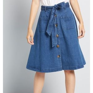 ModCloth 'in love with everything denim skirt'